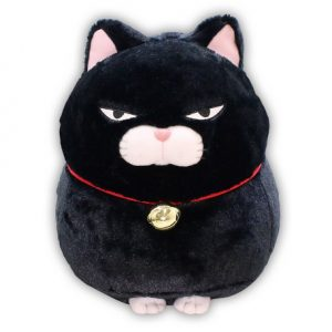Large kawaii plushie Hige Manjyu Grumpy Black Cat by Amuse