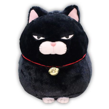 Large kawaii plushie Hige Manjyu Grumpy Black Cat by Amuse
