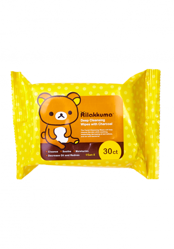 rilakkuma deep cleansing wipes wipe facial cleanse skin soothing soothe moisturizing oil redness charcoal power witch hazel rose extract kawaii beauty korean korea japan japanese import sanx san-x