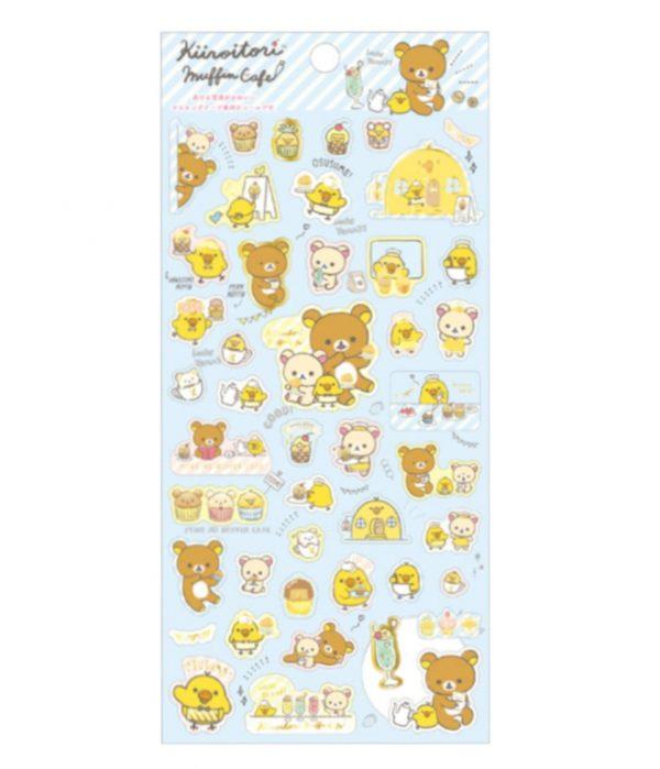 kiiroitori sticker sheet kawaii stationery muffin cafe rilakkuma san-x japan import