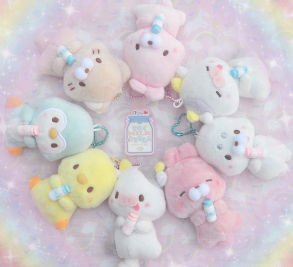 kawaii baby milk animals animal bottle babies kawaii keychains cow rabbit bunny seal duck chick penguin cat neko kitten kitty cute pastel aesthetic accessories accessories colorful colourful japan japanese import imported crane game machine claw catcher ufo prizes sega furyu taito