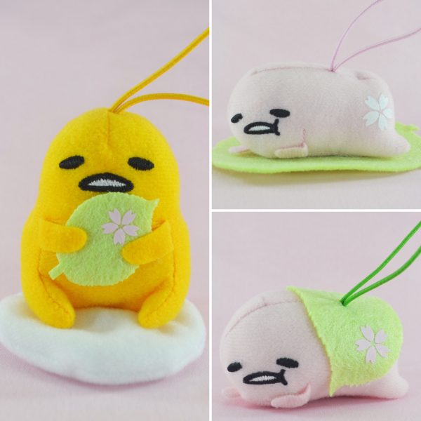 Gudetama sanrio sakura cherry blossom blossoms kawaii pink pastel aesthetic keychain strap kawaii adorable egg plush plushie japan japanese import imported arcade ufo crane game catcher toreba