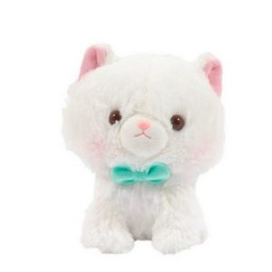 An Amuse Myu White Cat keychain with pink ears, pink nose and wearing a green bow.