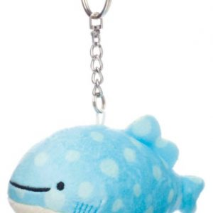 A Jinbesan keychain plush with aqua marine coloring and a white belly.
