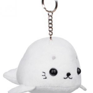 An all white Mini Seal plush keychain with fins and black glass eyes.