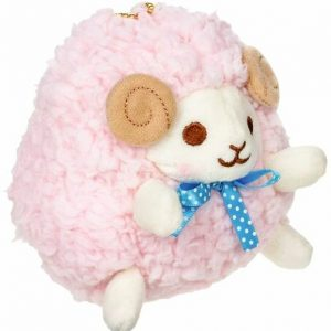 A Pink Sheep Keychain with brown eyes, pink wool and white feet.